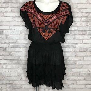 Ecote black and orange embroidered mini dress, SM